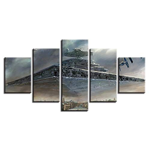 Empty ZBQWER Star Wars Imperial Battleship Star Destroyer 5 Panels Module Wall Art HD Picture Canvas Painting Print Posters-40x60 40x80 40x100cm no Frame