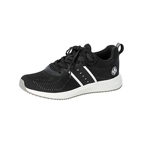 Rieker Damen Sneaker, Frauen Low Top Sneaker, Halbschuh strassenschuh schnürschuh sportschuh Freizeit,Schwarz,42 EU / 8 UK