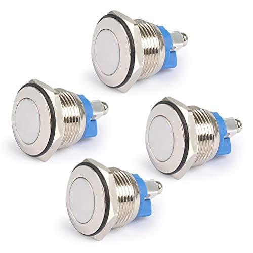 QLOUNI 4 Stück Metall Klingeltaster 16mm Drucktaster 2A /36V Hupenknopf Türklingel IP65 wasserdicht Push Button Klingel Klingelknopf für Auto/KFZ