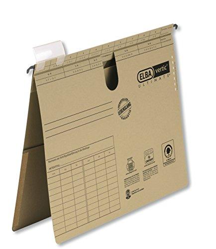 Preisvergleich Produktbild ELBA 100552061 Hängehefter vertic ULTIMATE 50er Pack kaufmännische Heftung aus Recycling-Karton für DIN A4 mit Inenntasche am Rücken braun Blauer Engel ideal im Büro und der Behörde