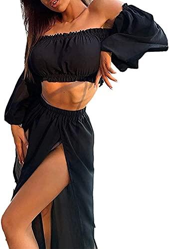 Xinlong Copricostume MareAbito da Spiaggia Due Pezzi Top Vestito Lunga Bikini Cover Up Set Senza Spalline Manica Lunga Stampa Leopard per Vacanza Mare Spiaggia Estate