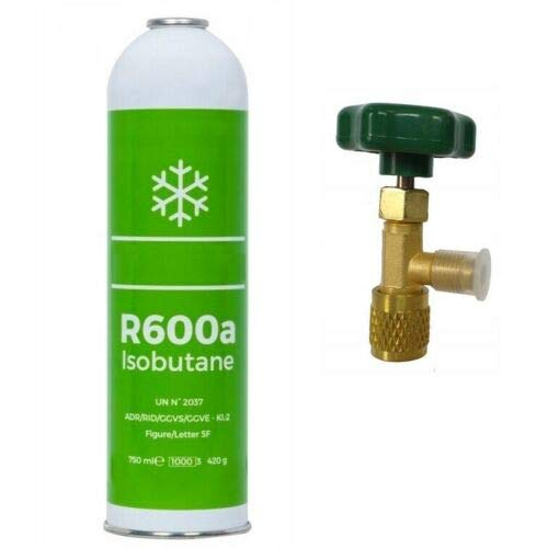 Kältemittel R600a 750ml/420g Isobutan + Entnahmeventil/Stechventil
