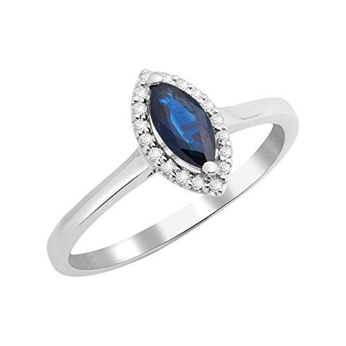Miore anillos Mujer oro blanco 9 k (375) zafiro
