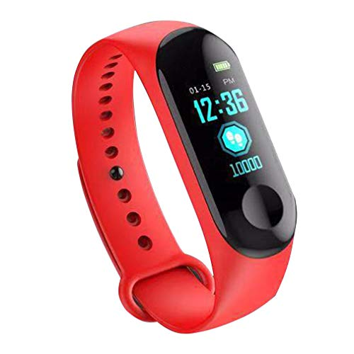 Color Screen Smart Bracelet Fitness Tracker Step Counter Heart Rate Sports Information Push Waterproof Watch Red
