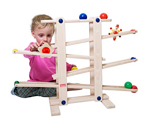 Trihorse Wooden Marble Run, 19 Inches Tall - Sustainable Toys for Toddlers from 1 Year Old - 6 Ball Tracks Made of Premium Beech Wood. Made in EU