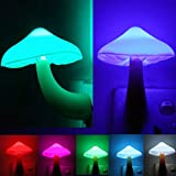 AUSAYE 2Pack LED Night Light Plug in Lamp 7-Color Changing Cute Mushroom Light Sensor Night Lights for Adults Kids NightLight