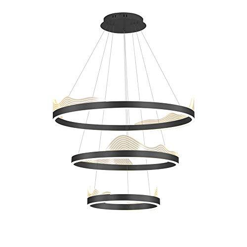 Forma de onda creativa LED 3 anillos Colgante Luz elegante Araña de techo Aluminio Tricolor TRICOLOR Lámpara Colgante Art Deco para dormitorio Sala de estar Comedor Cocina 40 + 60 + 80 cm