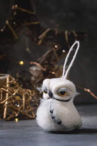 Gefilzte Weihnachtseule Kunstpuppe Nadelfilz Tier Wolle Skulptur Miniaturpuppe Umweltfreundliche Eulenfigur Lustige Eule für Weihnachtsbaum