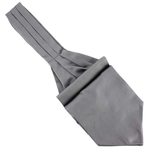 Tony & Paul. Cravate Ascot. Ascot, Soie. Gris, Uni. Fabriqué en Italie.