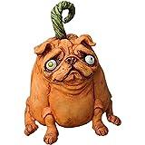 xiaowang Figura de cachorro de Halloween, estatua de carlino realista, escultura de animales en miniatura de resina, decoración de estatua de animales, para decoración interior y exterior