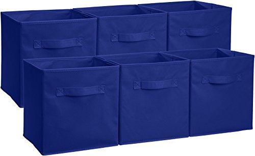 AmazonBasics - Cubos de almacenamiento plegables (pack de 6), Azul marino