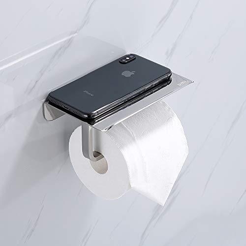 Umi. By Amazon - Portarrollos para Papel Higiénico con Soporte para Teléfono Móvil 304 Acero Inoxidable Superficie Refleja Diseño en forma de L Porta Rollos para Baño y Cocina