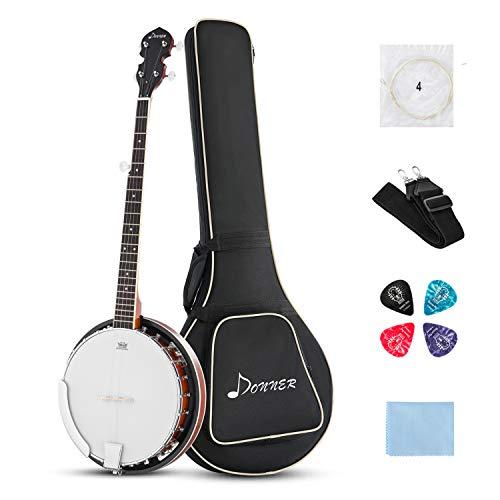 Donner Banjo Ukulele 5 Saiten DBJ-200 mit Tasche, Gitarren Stil Clip, Plektren, Saiten, Gurt und Poliertuch