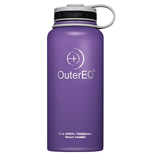 OuterEQ 32 oz Vacuum Insulated Stainless Steel Water Bottle (Purple)