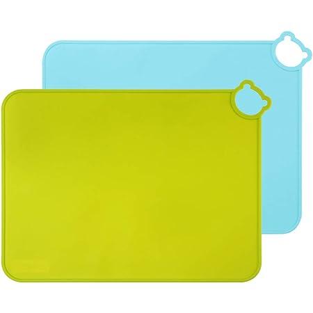 Senbowe 食事マット シリコン キッズ ランチョンマット 撥水 食べこぼしマット キッズ 子供用 ペット用食事マット 食洗器対応 BPAフリー 滑り止め 可愛い 2枚セット (ブルー&グリーン)