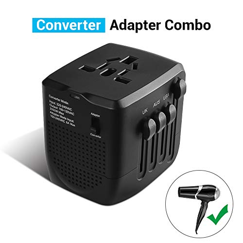 Travel Adapter and Converter, 220v to 110v Converter, Power Converter Adapter Combo for Hair Dryer Steam Iron Laptop Phone, US to UK Europe AU Over 200 Countries,A Must for International Travel