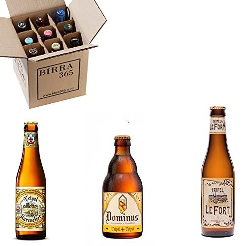 Caja de 9 cervezas estilo Tripel, cervezas especiales creadas en las abadías belgas.