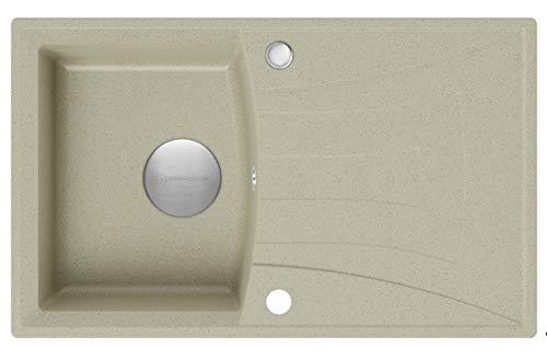 Spülbecken Beige 77 x 47 cm, Granitspüle + Siphon Premium, Küchenspüle ab 45er Unterschrank, Einbauspüle von Primagran