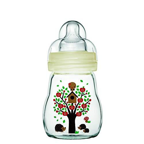 Mam - Biberon in vetro, 170 ml, 0-6 mesi, flusso tipo 1, colore: Bianco