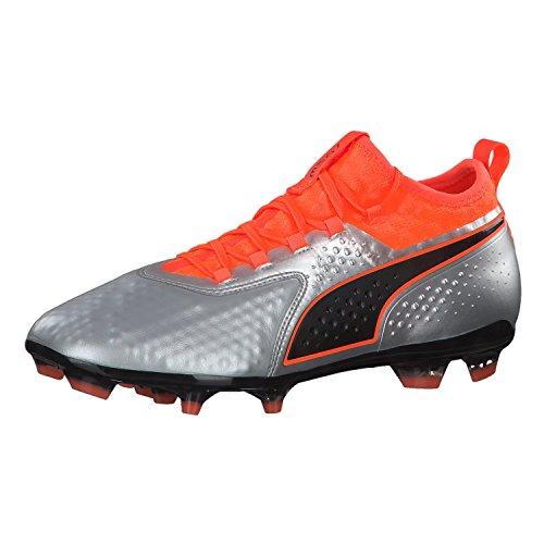 Puma Herren ONE 2 LTH FG Fußballschuhe, Silber Silver-Shocking Orange Black 01, 42 EU