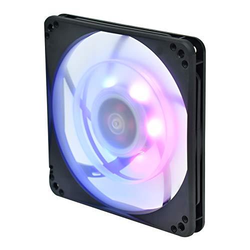 SilverStone SST-FW124-ARGB - Ventilador silencioso de refrigeración de 120mm PWM Serie FB, Aspas transparentes con marco negro, Rodamientos de bolas, LED RGB programable