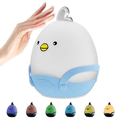 LED Wiederaufladbares Nachtlicht Kinder - Nachtlampe Kinderzimmer mit Berührungssensor, Warmem Licht und 7-Farben-Atemmodus