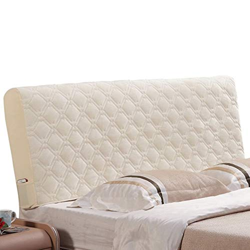 Sänggavelöverdrag Stretch sammet Huvudgavel Slipcover Protector Dammtät sänggavel dekor för enkel dubbelsängar (Color : Beige, Size : W80cmxH70cm)