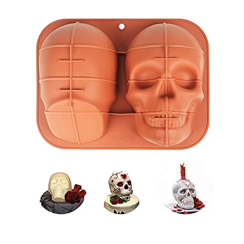 Large 3D Halloween Skull Silicone Cake Mold, Funny Manual DIY Skull Mold, Cake Mold For Baking Chocolate, Halloween And Birthday Parties. (coffee)