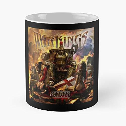 Warkings Hephaistos Label Metal Gladiator Napalm Reborn Avalon Records Sparta Taza de café con Leche 11 oz