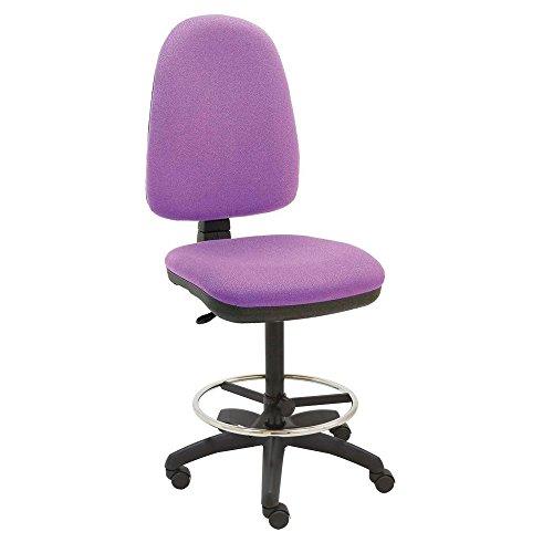 Centrosilla - Sgabello Torino, girevole ergonomico, da ufficio, regolabile in altezza e profondità, anello poggiapiedi cromato, regolabile con ruote