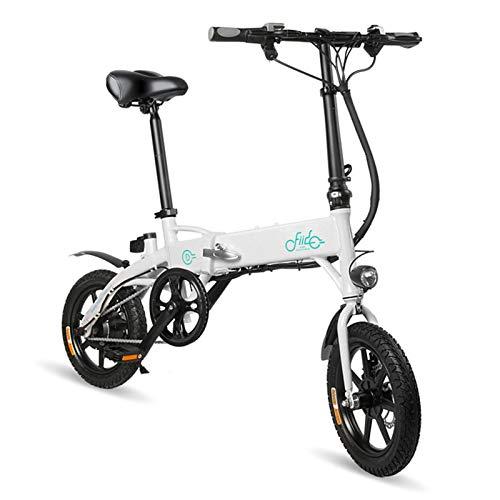 Amesii123 Bicicletta Elettrica Pieghevole di Ricaricabile Tre modalità di Lavoro Mini Mountain Bicycle con Pneumatici da 250W 36V 14 '' Schermo LCD EBike Bianca