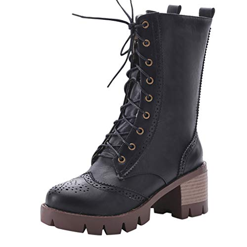 Frauen Winter Stiefel Lace Up Mitte Kalb Chunky Block Low Heel Stiefel Damen Grip Sole Platform Combat Schuhe(37 EU,Schwarz)