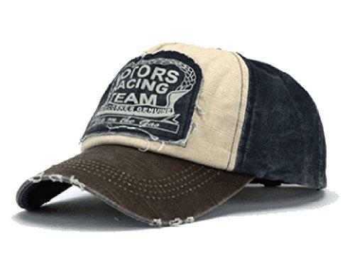 Amison Cool Nuovo Unisex Baseball Tappo Cotone Moto Tappo Bordo Rettifica Vintage Cappello (B)