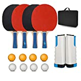 Portable Ping Pong Set, Retractable Ping Pong Net for Any Table Surface, 4 Rackets, 8 Balls, 1 Carry Bag,...