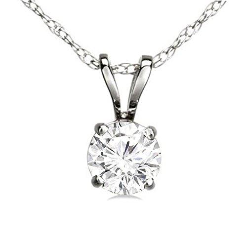 Dazzlingrock Collection 0.50 Carat (ctw) 14K Round White Diamond Ladies Solitaire Pendant 1/2 CT, White Gold