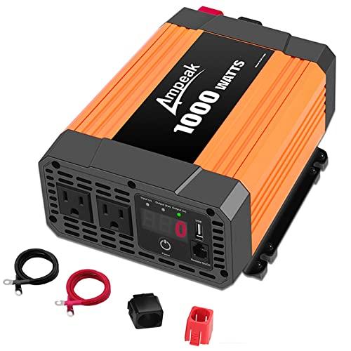 Ampeak 1000W Inverter with Dual AC Outlets 2.1A USB Inverter 12v to 110v Digital Display 12v Power Inverter