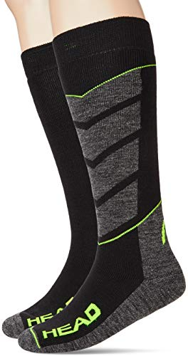 HEAD Unisex-Adult V-Shape Kneehigh Ski (2 Pack) Skiing Socks, Black/Grey/Yellow, 43/46 (2er Pack)