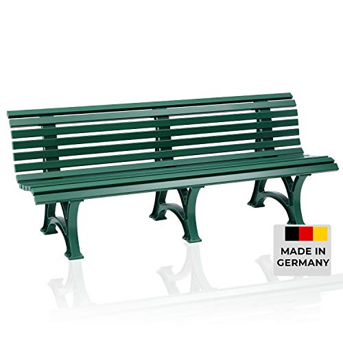 Blome Sitzbank Borkum – Gartenbank für Garten, Balkon, Terrasse, Parkbank in grün, 4-Sitzer, Made in Germany