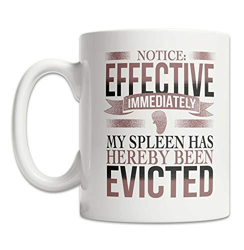 Taza de café de 325 ml, taza de té, taza de bazo, taza de desalojo de bazo, regalo de esplenectomía, taza de té, regalo de bazo, taza de café, regalo para mujeres y hombres