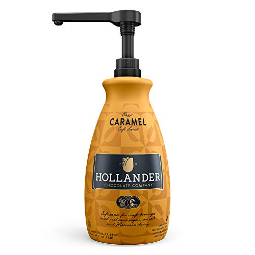 Classic Caramel Caf Sauce by Hollander Chocolate Co. | For Caramel Lattes & Deserts | Perfect for the Professional or Home Barista - Net Wt. 91oz (64 fl Oz) Large Bottle (PUMP Included)