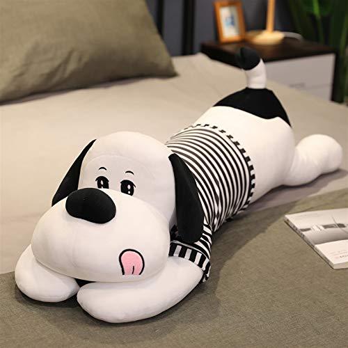 CHENPINBH Plüschtiere 60-110 cm Plüsch Spielzeug Tier Schöner Hund mit Kleid Kreative Lange Streifen Doggy Bett Schlafendes Kissen Kissen Gefüllte Geschenk Puppe (Color : Black, Height : 60CM)