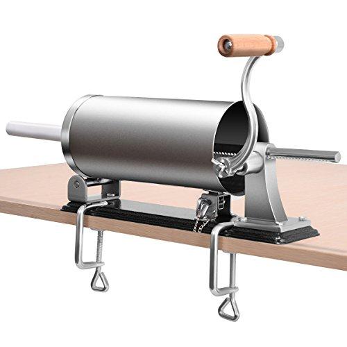 RELAX4LIFE 4,8L Wurstfüller manuell, Wurstfüllmaschine mit 4 Füllrohre, Wurstpritze für Metzgerei & Bäckerei & Küche & Restaurant, Wurstpresse mit Tischklemme, Wurstmaschine aus Edelstahl & Aluminium