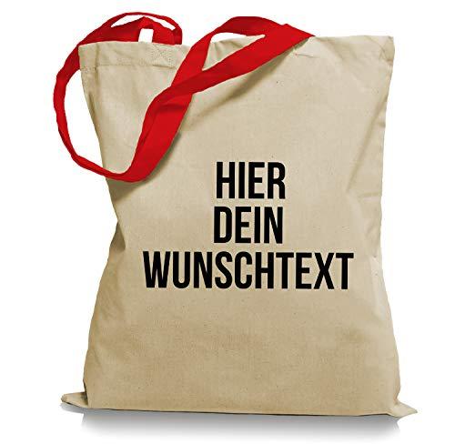 Stoffbeutel Jutebeutel mit Wunschtext/Selber gestalten mit dem Amazon T-Shirt Designer/Beutel Druck/Designertool Tragetasche/Bag/Jutebeutel WM2-red