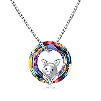 Pig Crystal Pendant Necklace 925 Sterling Silver Pig Jewelry Cute Pig Gifts for Women Daughter Birthday