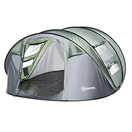Outsunny Zelt für 4-5 Personen Campingzelt mit Heringen Kuppelzelt Polyester B3 Gitter Glasfaser Dunkelgrün+Grau 263,5 x 220 x 123 cm