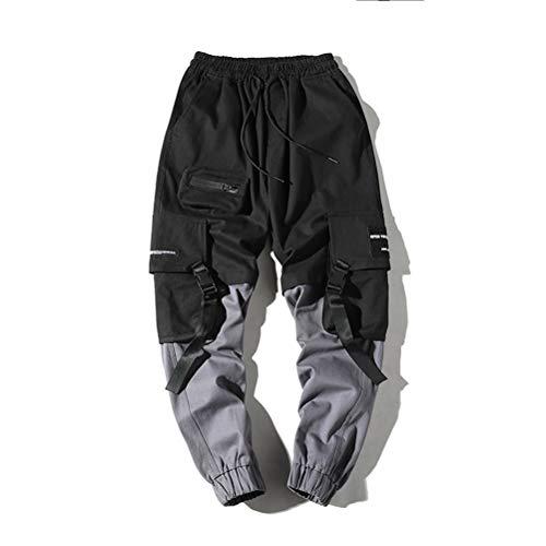 Hombres Streetwear Pantalones Cintas Harajuku Bolsillos MúLtiples Decorar EláStico Costura Color Hombre Casual Hip Hop Pantalones Cargo