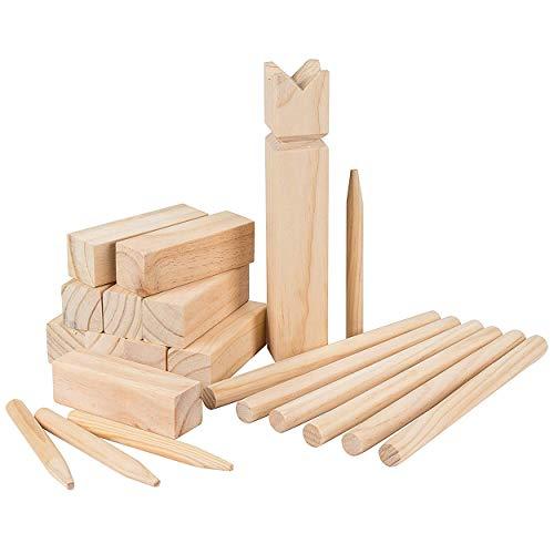 Oramics Wikinger Wurfspiel – I Lobe KUBB – Outdoor Spiel für die ganze Familie – Wurfspiel für draußen, Geschicklichkeitsspiel aus Holz, Vikingerspiel für Kinder und Erwachsene