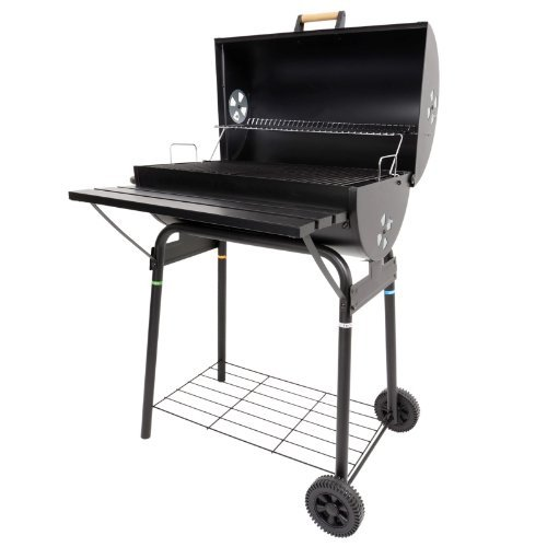 Azuma Black Steel Barrel BBQ Barbeque Charcoal Grill Cooking Garden...