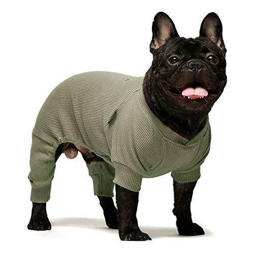 Fitwarm Basics 100% Cotton Lightweight Waffle Knit V-Neck Pet Clothes Dog Jumpsuits Pajamas Onesies Cat Outfits Cream Sage Green Medium