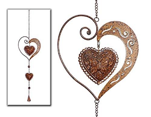 Hänger Animo mit Herz aus Metall in dunkelbraun Ø 17 cm Fesnterhänger